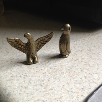Brass eagle? And penguin  - Animals