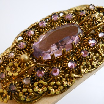 Vintage Brooch, Enamel Flowers and Purple Stones, 20 Century