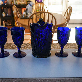 Vintage Blue Glass Pitcher with Goblets