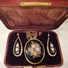 Micro Mosaic Yellow Gold 14Ct. Approx. 1860-1870 Coral-Ivory Flower Suite