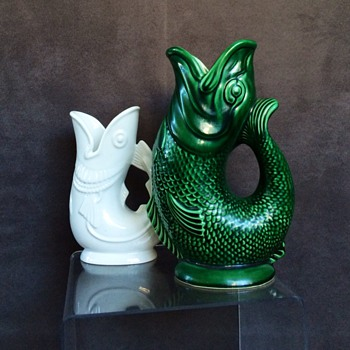 Vintage Green Dartmouth & Shreve & Co. Gurgling Fish Vases