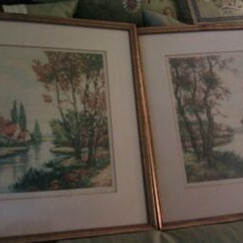 Pair of Colored Etchings - Posters and Prints