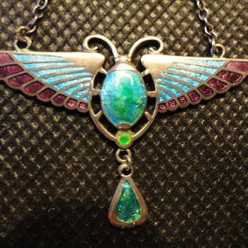Egyptian revival Charles Horner silver enamel pendant c. 1905 - Fine Jewelry