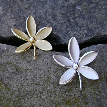 Trifari Flower Brooches - Chatham - Costume Jewelry