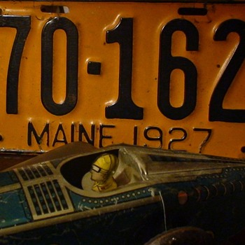 Wind-Up Tin Race Car and 1927 Maine License Plate - Model Cars