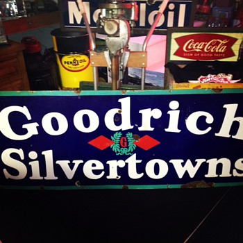 Goodrich Silvertowns Double Diamonds Porcelain Sign...Four Colors - Signs