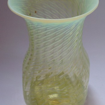 Victorian opalescent patterned uranium glass vase with pushed in sides - Art Glass