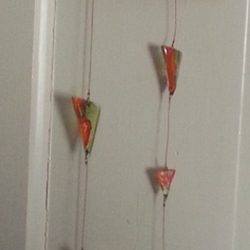 Orange and Green Glass Triangles hanging mobile