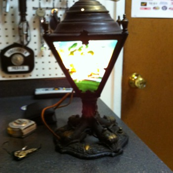 Antique Reverse Painted Lamp - Lamps