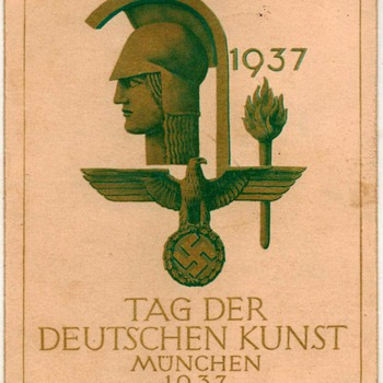 "1937 - ""Day of German Art Exhibition"" Postcard - Postcards"