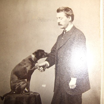 CDV of man with well trained dog