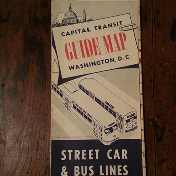 Washington D.C. Guide Map Street Car &amp; Bus Lines 1949