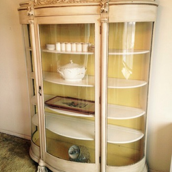 China cabinet curved glass solid oak