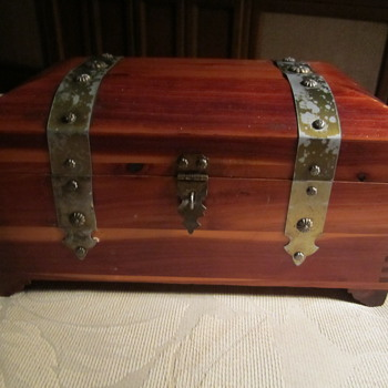 Antique Wooden Cedar Box..Rounded Top..40's