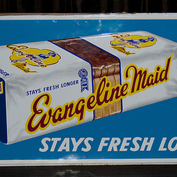 NOS Louisiana Evangeline Maid Bread Sign, circa 1950's - Signs