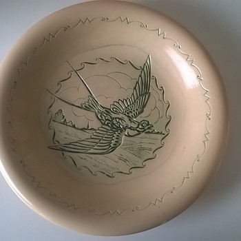 Unusual Intaglio Swallow Glazed Terracotta Plate - Art Pottery
