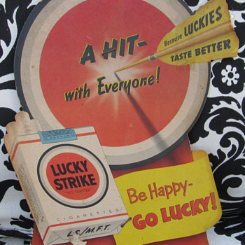 LUCKY STRIKE CARDBOARD SIGN, BE HAPPY-GO LUCKY