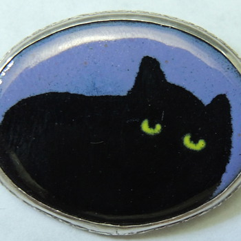 Sterling Silver Cat Pin - 925 &amp; Enamel - Fine Jewelry