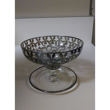 Crystal Sherbet Glass with Silver Floral Pattern