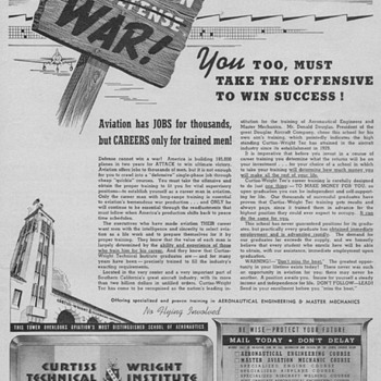 1942/43 - Curtiss-Wright Tech. Inst. Advertisements - Advertising