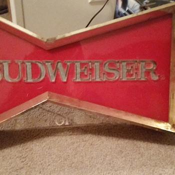 Vintage Budweiser bow-tie window sign  - Signs