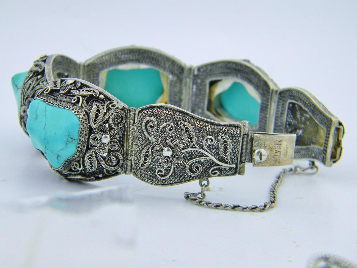 antique chinese turquoise silver filigree panel bracelet w. Black Bedroom Furniture Sets. Home Design Ideas