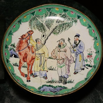 Canton Enamel Plate of Wise Men Walking