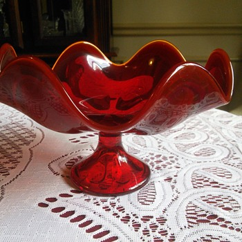 Viking Glass Ruby Red Compote Candy Dish