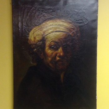 My Very Old Rembrandt Self Portrait Original Oil Signed - Visual Art