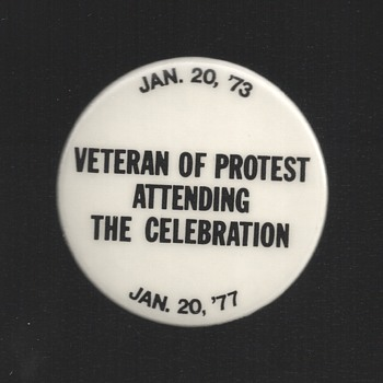 Veteran of Protest @ 1977 Inauguration pinback button - Medals Pins and Badges