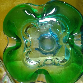 green blue art glass ashtray - Art Glass