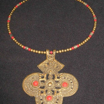 Vintage Antique Tibetan Sacred Amulet Brass and Coral Locket Pendant Necklace