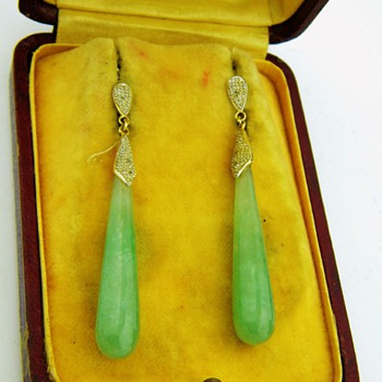 Antique Victorian Jade Diamond Pendant 10k Earrings  - Fine Jewelry