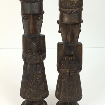 Carved Wooden Statues Ethnic Origin Royal Couple
