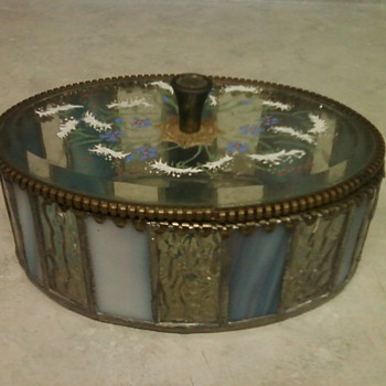 ANTIQUE STAINED AND ENAMELED GLASS BOX - Art Glass