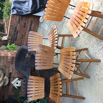 Wood Slat Swivel Chairs