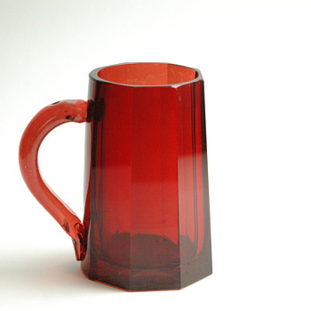 Antique Bohemian Glass Beer Stein Red Ruby Cut.