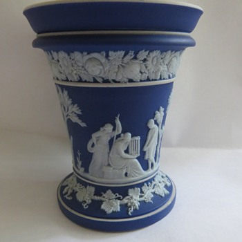 Antique Wedgwood Jasperware Cobalt Blue Vase - China and Dinnerware