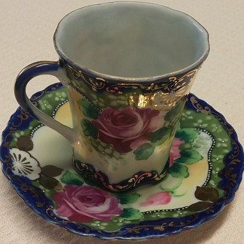 Unknown Maker Tea Cup and Saucer Floral Design Gold Trim
