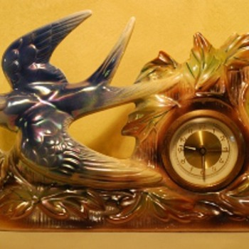 Jema Holland (409) Blue Swallow Mantle Clock - Clocks