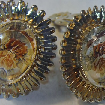 My Vintage Clip on Earrings has a Rose painted on Concave Glass Center   - Costume Jewelry