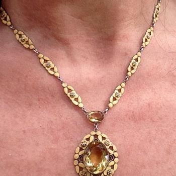 Bernard Instone Silver Enamel and Citrine Necklace - Art Deco