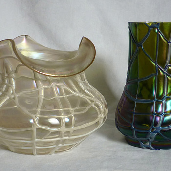 Kralik Iridescent Veined Vases - Art Glass