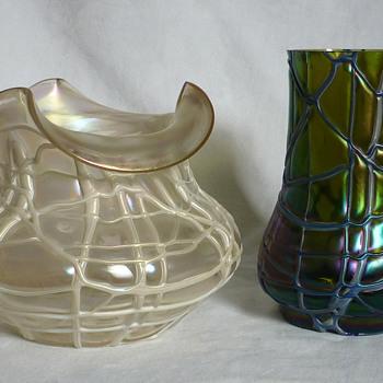 Kralik Iridescent Veined Vases - Art Glass