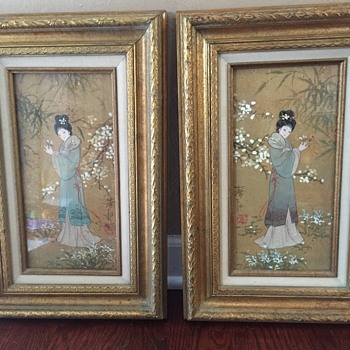 Vintage Oriental Princess oil cork painting