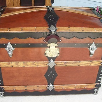 Fiber Covered Trunk, 1880's, with ornate Corbin lock - Furniture