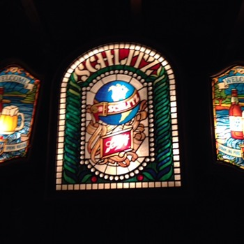 Schlitz and Old Style lighted stained glass look signs