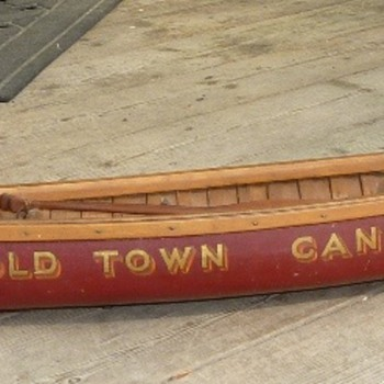 "Hybrid display sample canoe model (aka ""salesman sample"") with elements of both Carleton Canoe and Old Town companies."