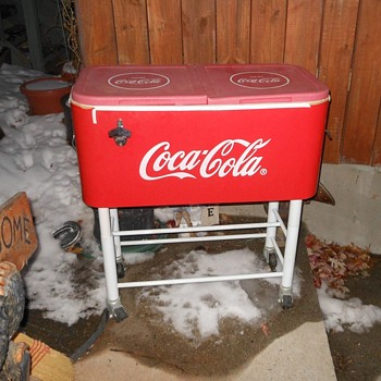 Large Coca-Cola Cooler with Stand