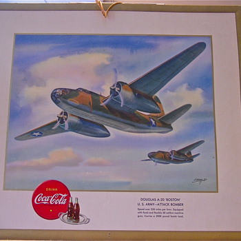 2 Original 1943 Coca Cola WW2 Airplane Hangers